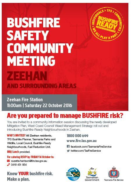 Zeehan Bushfire meeting flyer
